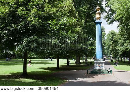 Houndwell Park With The Chamberlayne Gas Column In Southampton, Hampshire In The Uk, Taken 10th July