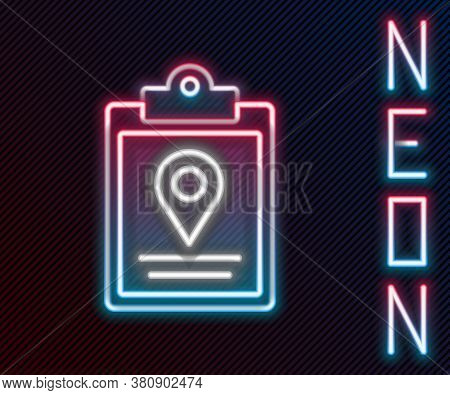 Glowing Neon Line Document Tracking Marker System Icon Isolated On Black Background. Parcel Tracking