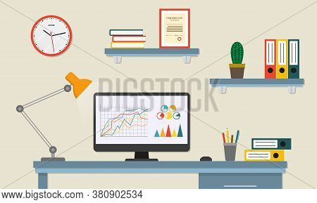 Office Desk Or Table With Computer. Business Workspace Or Interior. Workplace In Flat Style. Vector