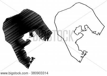 Road Town City (united Kingdom, British Virgin Islands, Tortola Island) Map Vector Illustration, Scr