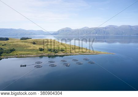 Fish Farm Salmon Round Nets In Natural Environment Loch Etive In Arygll And Bute Scotland