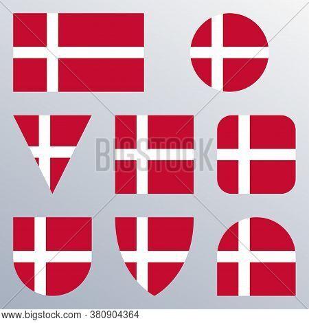 Denmark Flag Icon Set. Danish Flag Button Or Badge In Different Shapes. Vector Illustration.