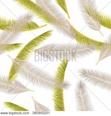 Floral Feather Plumage Vector Pattern. Chic Wallpaper. Airy Natural Feather Plumage Fabric Print Sea