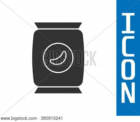 Grey Bag Or Packet Potato Chips Icon Isolated On White Background. Vector Illustration