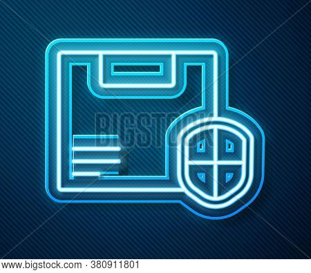 Glowing Neon Line Delivery Security With Shield Icon Isolated On Blue Background. Delivery Insurance