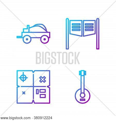 Set Line Banjo, Treasure Map, Wild West Covered Wagon And Saloon Door. Gradient Color Icons. Vector