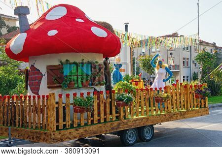 Tivat / Montenegro - June 03 2019: International Summer Carnival In Tivat. Children's Parade. Partic
