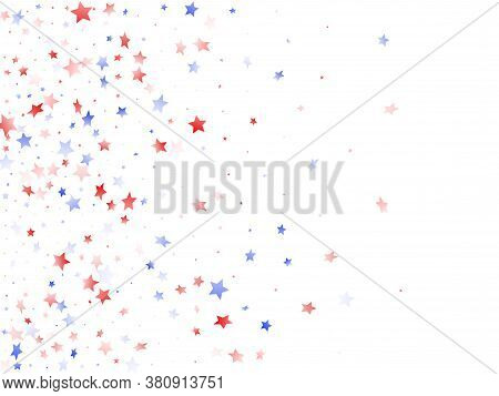 American Patriot Day Stars Background. Confetti In Us Flag Colors For Independence Day. Bright Red B