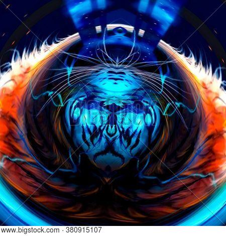 Abstract Optical Illusion Face In Bright Colorful Background. An Illusion Art Graphic Made Up Abstra