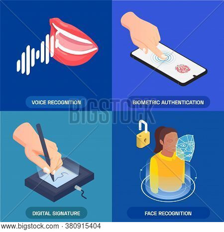 Biometric Authentication 2x2 Icons Set With Voice Face Fingerprint Recognition And Digital Signature