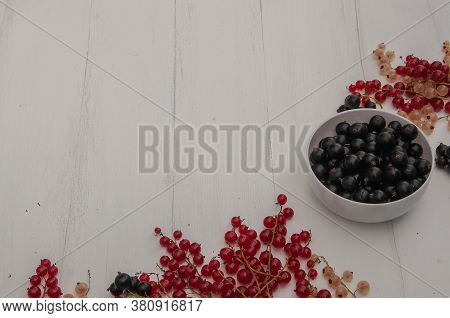 Red, Black And White Currants On A Light Background. White Cup With Black Currant. The View From The