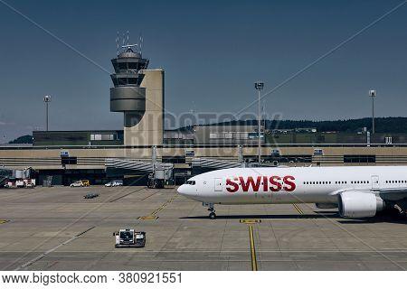 Zurich, Switzerland - August 07, 2020: Flagship Of Swiss International Air Lines Boeing 777-300er Du
