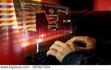 Online Shopping With Cart Symbol On Computer Screen. Cyber Business, Digital Buying, Banking And Eco