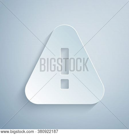Paper Cut Exclamation Mark In Triangle Icon Isolated On Grey Background. Hazard Warning Sign, Carefu