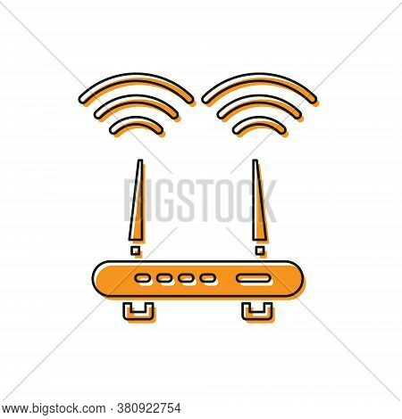 Orange Router And Wi-fi Signal Icon Isolated On White Background. Wireless Ethernet Modem Router. Co