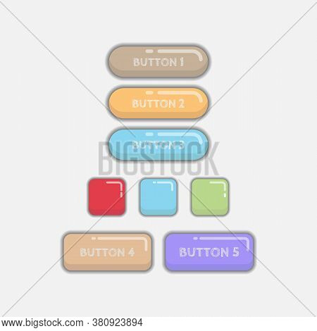 Shiny Cute Web Buttons Flat Design Vector. Web And Ui Application Color Button Icon For Modern Websi