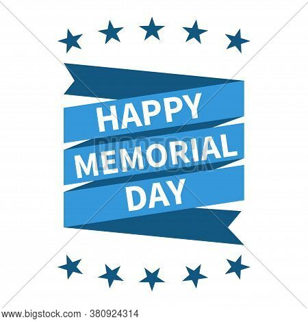 Happy Memorial Day Banner. Vector Isolated Element. American National Holiday.