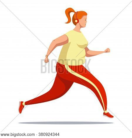 Curvy Girl With Strong Will And Desire To Lose Weight Is Running. A Plump Cute Female With Headphone