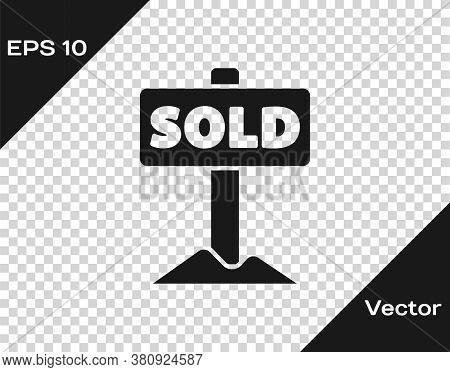 Black Hanging Sign With Text Sold Icon Isolated On Transparent Background. Sold Sticker. Sold Signbo