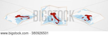 Folded Map Of Italy In Three Different Versions. Vector Map Of Italy.