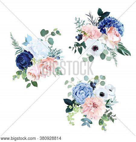 Classic Navy Blue, White, Blush Pink Rose, Hydrangea, Ranunculus, Dahlia, Anemone, Peony, Thistle Fl