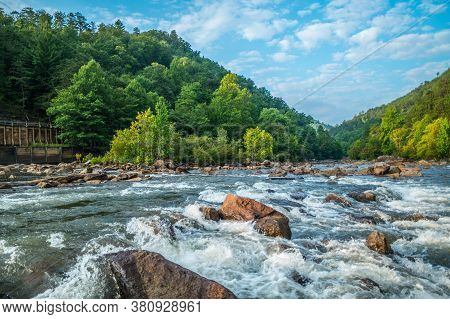 Closeup View Of The Whitewater Flowing Downstream On The Ocoee River In Tennessee At The Dam With Th