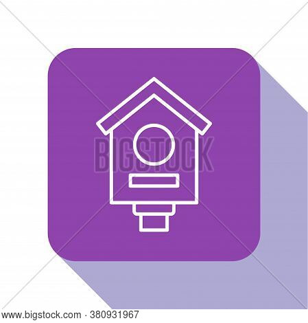 White Line Bird House Icon Isolated On White Background. Nesting Box Birdhouse, Homemade Building Fo
