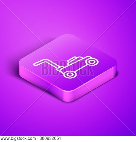 Isometric Line Lawn Mower Icon Isolated On Purple Background. Lawn Mower Cutting Grass. Purple Squar