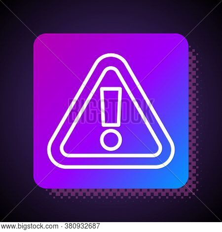 White Line Exclamation Mark In Triangle Icon Isolated On Black Background. Hazard Warning Sign, Care