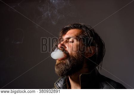 Handsome Bearded Man With Cigarette. Cigarette Smoke. Sensual Man Smoking. Tobacco. Smoking Hipster.