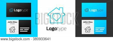 Blue Line House With Heart Inside Icon Isolated On White Background. Love Home Symbol. Family, Real