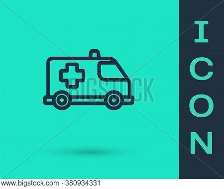 Black Line Ambulance And Emergency Car Icon Isolated On Green Background. Ambulance Vehicle Medical