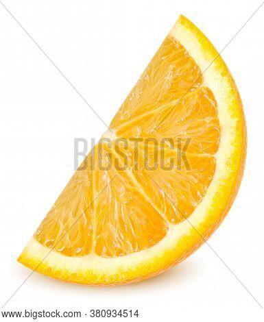 Isolated Orange Fruit. Ripe Slice Of Orange Citrus Fruit Stand Isolated On White Background. Orange