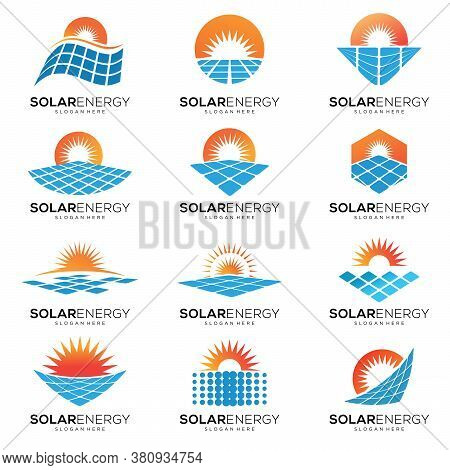 Set Of Sun Solar Energy Logo Icon Vector Template, Solar Sun Panel Logo Icon, Sun Logo For The Brand