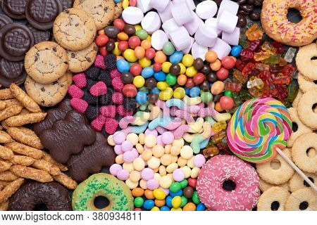 Sweets, candy, cookies and other food containing sugar