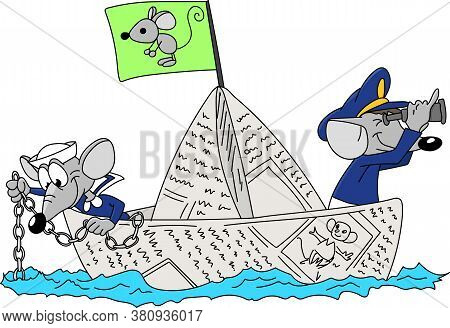 Two Cartoon Mice Sailing Together On A Paper Boat Vector Illustration For Children