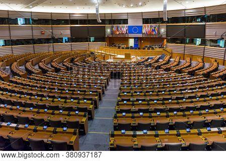 Bruges, Belgium - 11 November 2019: European Parliament Empty Plenary Room In Brussels, Belgium