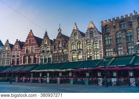Brugges, Belgium - 14 November 2019: Old Buildings In Center Brugges, Belgium.