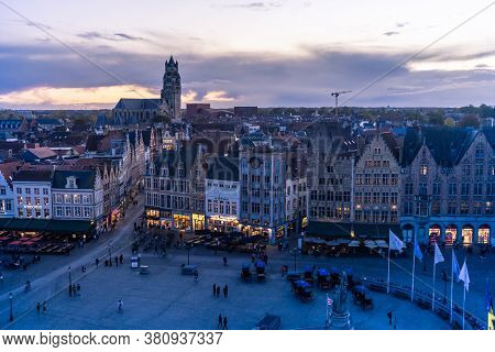 Brugges, Belgium - November 2019: Old Buildings In Center Brugges, Belgium.
