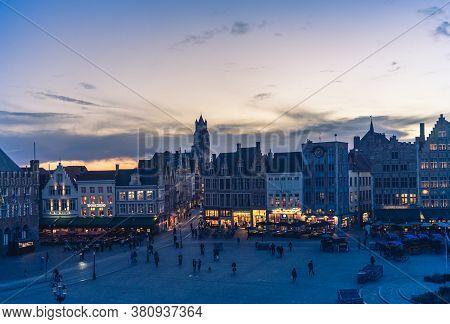 .bruges, Belgium - 14 November 2019: Central Market In Bruges, Belgium