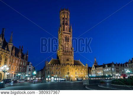 .bruges, Belgium - 14 November 2019: Old Town Central Square  In Bruges, Belgium