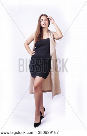 Young Pretty Caucasian Woman Posing Emotional Isolated On White Background, Beauty People Lifestyle