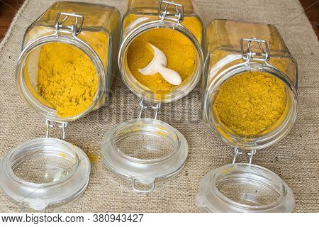 Three Types Of Curry In Jars Hot Curry, Medium Curry And Sweet Curry
