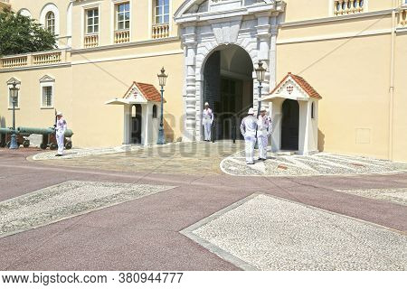 Monaco City, Monaco - June 13, 2014: The Traditional Ritual Of The Changing Of The Guard - The Carab