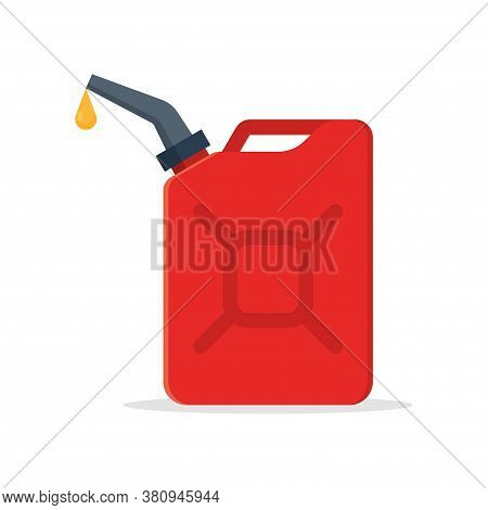Red Jerry Can Isolated On White Background. Gasoline Canister With A Drop Fuel. Vector Illustration