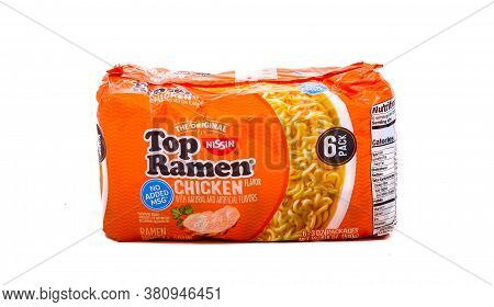 Pack Of Ramen Noodles Isolated On White For Illustrative Editorial