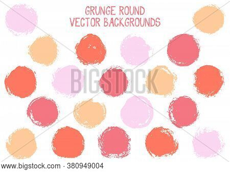 Vector Grunge Circles Design. Dry Post Stamp Texture Circle Scratched Label Backgrounds. Circular Ic