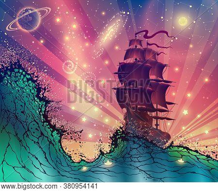 Fantasy Landscape With Ship On Sea Waves Digital Vector Art, Seascape Fairy Tale Illustration With V
