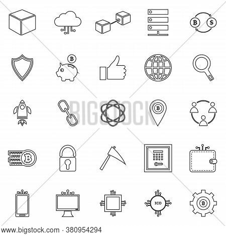Blockchain Line Icons On White Background, Stock Vector