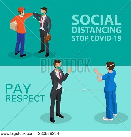 Isometric Social Distancing Concept For Preventing Coronavirus Covid-19 With People Pay Respect,vect
